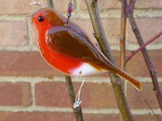 Fused glass robin hanging ornament for indoors or outside by 1stGlassCreations on Etsy
