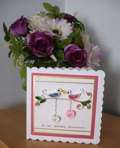 Anniversary Card - quilled birds