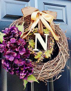 Autumn Wreath For Door, Fall Monogram Wreath, Autumn Decor, Fall Porch Decor, Monogram Letter Purple by WoodAndBurlap on Etsy