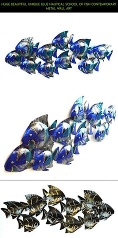 HUGE BEAUTIFUL UNIQUE blue NAUTICAL SCHOOL OF FISH CONTEMPORARY METAL WALL ART #plans #racing #gadgets #products #tech #drone #kit #outdoor #camera #parts #theme #shopping #fpv #technology #nautical #decor
