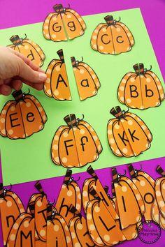 Letter Matching Puzzles - Pumpkin Activities for Preschool Fall Preschool Activities, Preschool Art Projects, Preschool Lesson Plans, Preschool Learning Activities, Halloween Activities, Theme Halloween, Halloween Week, Montessori, Ms Gs