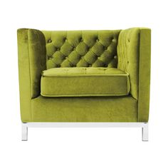Is it possible that a designer stepped back in time a few decades to create this Madeleine Accent Chair? We think so. We loved its mid-century feel with a boxy profile and tufted inner and seat cushion...  Find the Madeleine Accent Chair in Moss Green Velvet, as seen in the Beneath the Northern Lights Collection at http://dotandbo.com/collections/beneath-the-northern-lights?utm_source=pinterest&utm_medium=organic&db_sku=111654