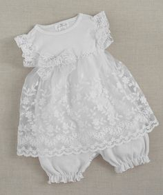 After church, baptism outfit. Christening Skirted Bodysuit Embroidered by TrufflesRufflesBaby, $36.00