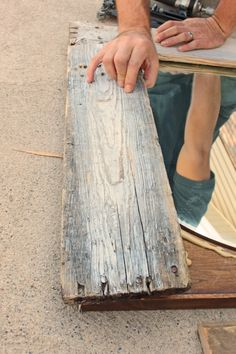 Re-purposing a big, old dresser mirror. Seriously, why can't I find any barnwood? I live in the flippin corn fields!