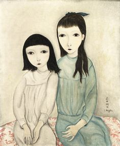 Tsuguharu Foujita (Japanese-French: 1886-1968) - Two Little Friends, 1918