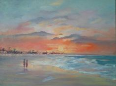Sunset walk -oil by Josee Clerk Watercolours, Art Gallery, Paintings, Oil, Sunset, Artwork, Sunsets, Art Museum, Work Of Art