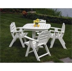 PolyWood Nautical Low Back Dining Set by Polywood. $1439.95. This Poly Wood Nautical patio dining set includes your choice of four low back chairs and one Nautical 37 inch square patio dining table. The Nautical dining chairs can be enjoyed in three different adjustable positions, they also fold flat for storage.