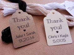 25 Custom Thank You Tags Custom Wedding by BoiseTicketsandTags
