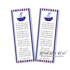 25 baby shower bookmarks printed on card stock paper, ideal as favors or gifts. Nautical Design, Nautical Baby, Baby Shower Favors, Baby Boy Shower, Sailor Baby Showers, Bookmark Printing, Custom Bookmarks, Unicorn Birthday Invitations, Blue Boat