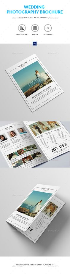 Wedding Photography Brochure Template PSD #design Download: http://graphicriver.net/item/wedding-photography-brochure-template/14318668?ref=ksioks