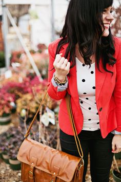 Love the blazer polka dots and skinnies. Plus I want one of the new ABM bags! Business Attire, Business Casual, Business Lady, Kelly Moore Bag, Work Fashion, Fashion Outfits, Blazers, Teaching Outfits, Work Wardrobe