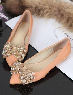 Sparkle Crystals Bow pointy flat cream shoes Need for work