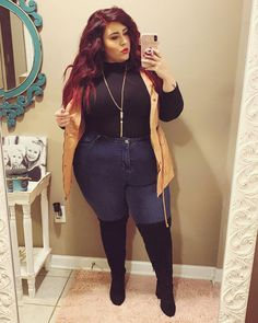 49 Cute Plus Size Winter Fashion Ideas Source by mytrendingoutfit ideas gorditas Thick Girl Fashion, Plus Size Fashion For Women, Plus Size Womens Clothing, Curvy Fashion, Size Clothing, Gothic Clothing, Plus Size Fall Outfit, Plus Size Outfits, Curvy Outfits