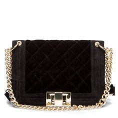 Quilted Velvet Purse in Black with Gold Detail.