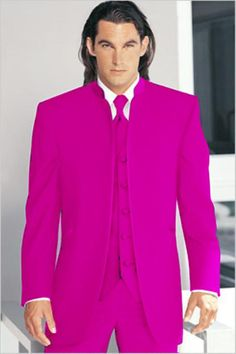 Mirage Tuxedo Mandarin Collar Rose Vested 3PC No Buttons Pre Order Collection | MensITALY  Price: US $795