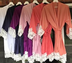 Lace Trimmed Bridesmaid Robes Wedding Party Robes Lace