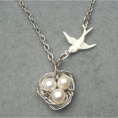 Bird Nest and Pearl Necklace by turquoisecity on Etsy, $12.95