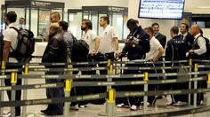 OCTOBER 10: (L-R) Andrea Pirlo, Andrea Barzagli and Mario Balotelli of Italy arrive at Yerevan Zvartnots International Airport ahead of their FIFA World Cup Brazil 2014 qualifier against Armenia on October 10, 2012 in Yerevan, Armenia.