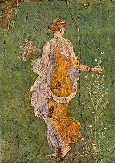Roman Era Fresco  --  Primavera  aka Flora w/ a Cornucopia  --  Excavated from the ruins of  Stabia  --  Museo Nazionale di Napoli