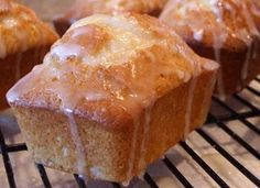 Lemon Pound Cake Muffins:  all-purpose flour, salt, baking soda, butter, granulated sugar, large eggs, vanilla extract, lemon extract, sour cream, powdered sugar, fresh lemon juice