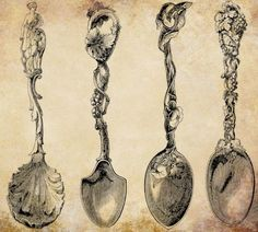 antique ornate spoons png file clip art by VellasCollageSheets, $1.00