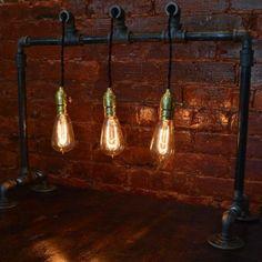 plumber pipe + hanging edison bulbs light fixture