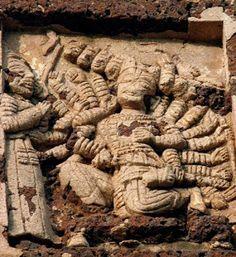 Ravana in his court: Radheshyam Temple,Bishnupur,WB,India.
