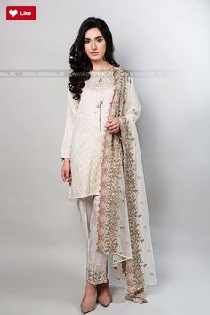 Maria B Suit Off White Evening Wear 2017 - Original Online Shopping Store Whatsapp: 00923452355358 Website: www. Pakistani Casual Wear, Pakistani Party Wear, Pakistani Wedding Outfits, Pakistani Dresses, Indian Outfits, Eastern Dresses, Pakistan Fashion, Desi Clothes, Indian Wear