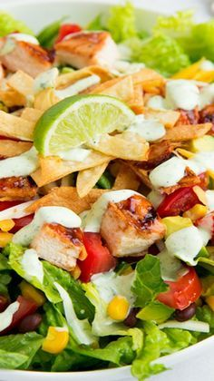 BBQ Chicken Salad with Cilantro Lime Ranch Recipe ~ This salad is amazing!