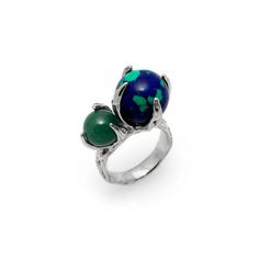 SPHERE RING SPUTNIK WITH AZURITE-MALACHITE AND AVENTURINE #pulse_jewellery  #sterling #silver #925 #jewellery #jewelry #ring #rings #fluid #liquid #sphere #gemstone #azurite #malachite #aventurine