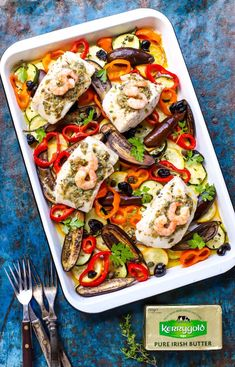 Easy Sheet Pan Mediterranean Fish (low-carb) - food to glow Fish Recipes, Low Carb Recipes, Cooking Recipes, Whole Grain Rice, Counting Carbs, Colorful Vegetables, Herb Butter, Mini Foods