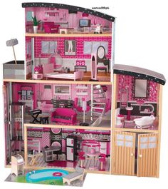 """Kid Kraft Sparkle Mansion Dollhouse for Barbie Size Dolls -  Includes: 30 pieces of furniture, large enough that multiple children can play at once, gliding elevator takes dolls from the first floor to the second, backyard area complete with a swimming pool and a BBQ grill, molded spiral staircase and specially-designed curved roofs. Dimensions: 49.4""""L x 25.7""""W x 53.3""""H"""