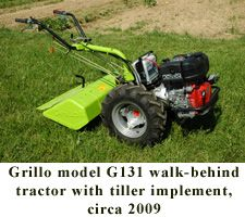 Grillo model G131 walk-behind tractor with tiller implement, circa 2009