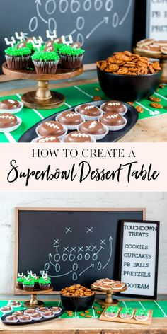 I love to entertain and can find just about any reason to host a party.  I aim to keep things simple, yet include special details that make an event memorable.  My favorite thing to create for parties is a dessert table.  It's the centerpiece of any party and typically where you'll find most of your guests gathered.  To celebrate the Super Bowl this year, I put together a classic football table filled with delicious treats. ||  JennyCookies.com #superbowldesserts #superbowlparty #superbowl