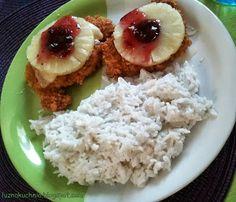 LUŹNA KUCHNIA: Kukurydzinane kurczaczki z kokosowym ryżem