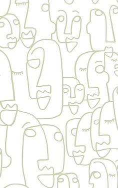 Sage Line Drawing Face Wallpaper Mural | Hovia