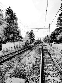 The railroad line.
