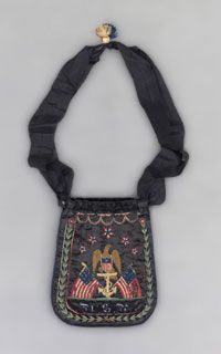 Made in United States  c. 1862-65    Probably made by George W. W. Dove, American, 1835 - 1908    Black silk satin with multi-colored silk embroidery; black silk plain weave ribbon, and red, off-white and blue silk tassel  21 1/2 x 6 1/2 inches (54.6 x 16.5 cm)