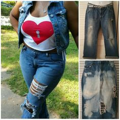 Distressed jeans  http://thriftychic2.storenvy.com