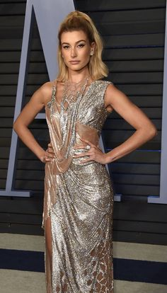 HAILEY BALDWIN In ATELIER VERSACE at The VANITY FAIR/OSCARS After Party.