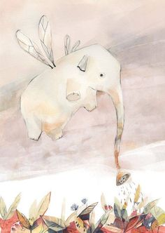 """""""dewie"""" is an archival print of my original watercolor illustration. ● a Giclee print on Ultra Smooth Fine Art paper. Elephant Love, Elephant Art, Flying Elephant, Elephant Design, Art And Illustration, Elephant Illustration, Sketch Manga, Art Fantaisiste, Whimsical Art"""