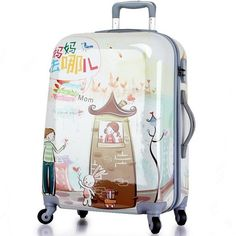 111.78$  Buy here - http://aliimf.shopchina.info/go.php?t=32759591004 - Glossy Cartoon 20 24 28 inch Classic Trolley suitcase /rolling spinner wheels Pull Rod luggage/Women Girl traveller case boardin 111.78$ #buychinaproducts