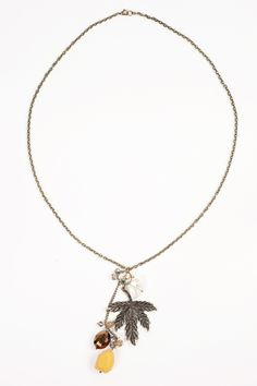 Dressing Your Truth - Type 3 Maple Sugar Necklace -  This long pendant style necklace featuring a semi-precious stone and textured leaf will add a rediant richness and elegance to your look.        38 inches, adjustable      Trigger Clasp