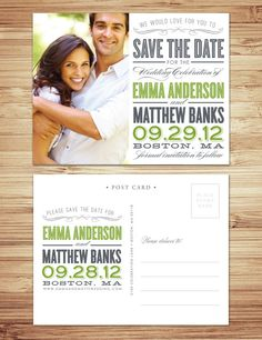 Old Fashioned Save the Date Post Card in Slate & Meadow