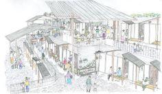 From Akihisa Hirata Architecture Office. Unique Architecture, Architecture Office, Architecture Drawings, Urban Village, Public Space Design, Architectural Section, Architectural Presentation, Small Buildings, Urban Design