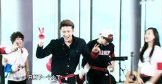 Sehun's cute victory dance…..
