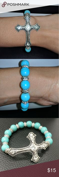 Sideways cross bracelet Sideways Turquoise cross bracelet. Fashion jewelry. Jewelry Bracelets