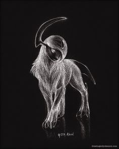 Absol 8 x 10 print pokemon drawing dark art by RockyHammerEtsy