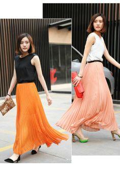 Orange and Peach Long Skirt