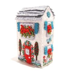 Hand Embroidered Miniature Soap Box House by TwoLeftHands